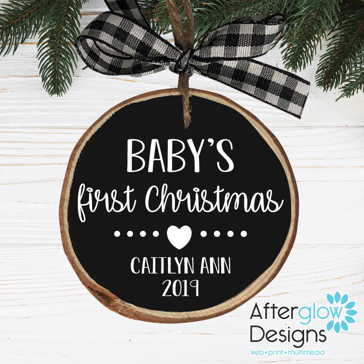 """Baby's First Christmas"" Personalized Wood Ornaments"