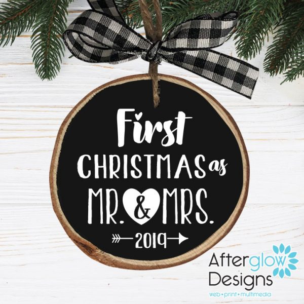 """First Christmas as Mr. & Mrs."" Personalized Wood Ornament"