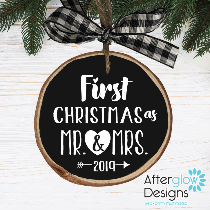 """""""First Christmas as Mr. & Mrs."""" Personalized Wood Ornament"""