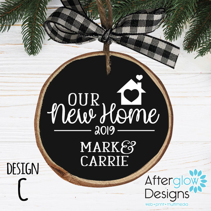 """""""Our New Home"""" Personalized Wood Ornament Design C"""