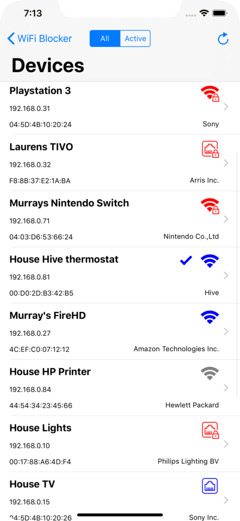 Devices connected to my WiFi