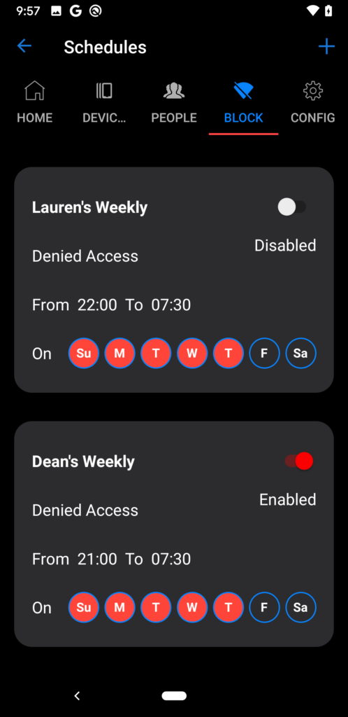 disable router timed access