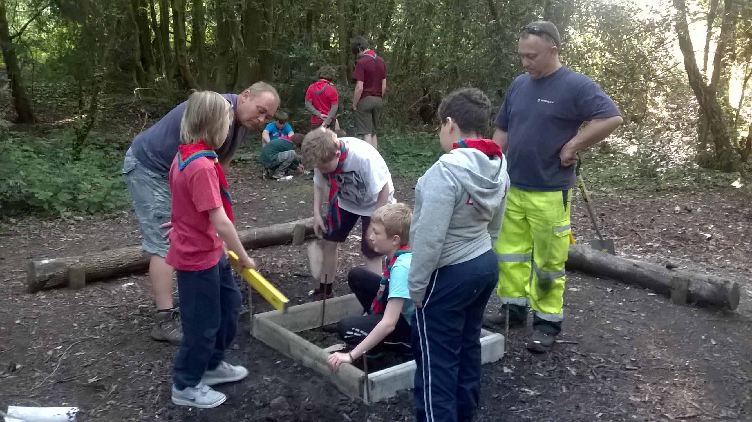 Scouts refurbishing fire pit June 2016