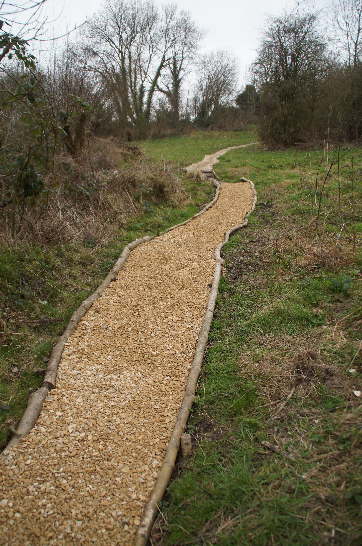 Refurbished path below bridge on the way to the pond