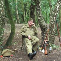 Home Guard Re-enactor takes a rest