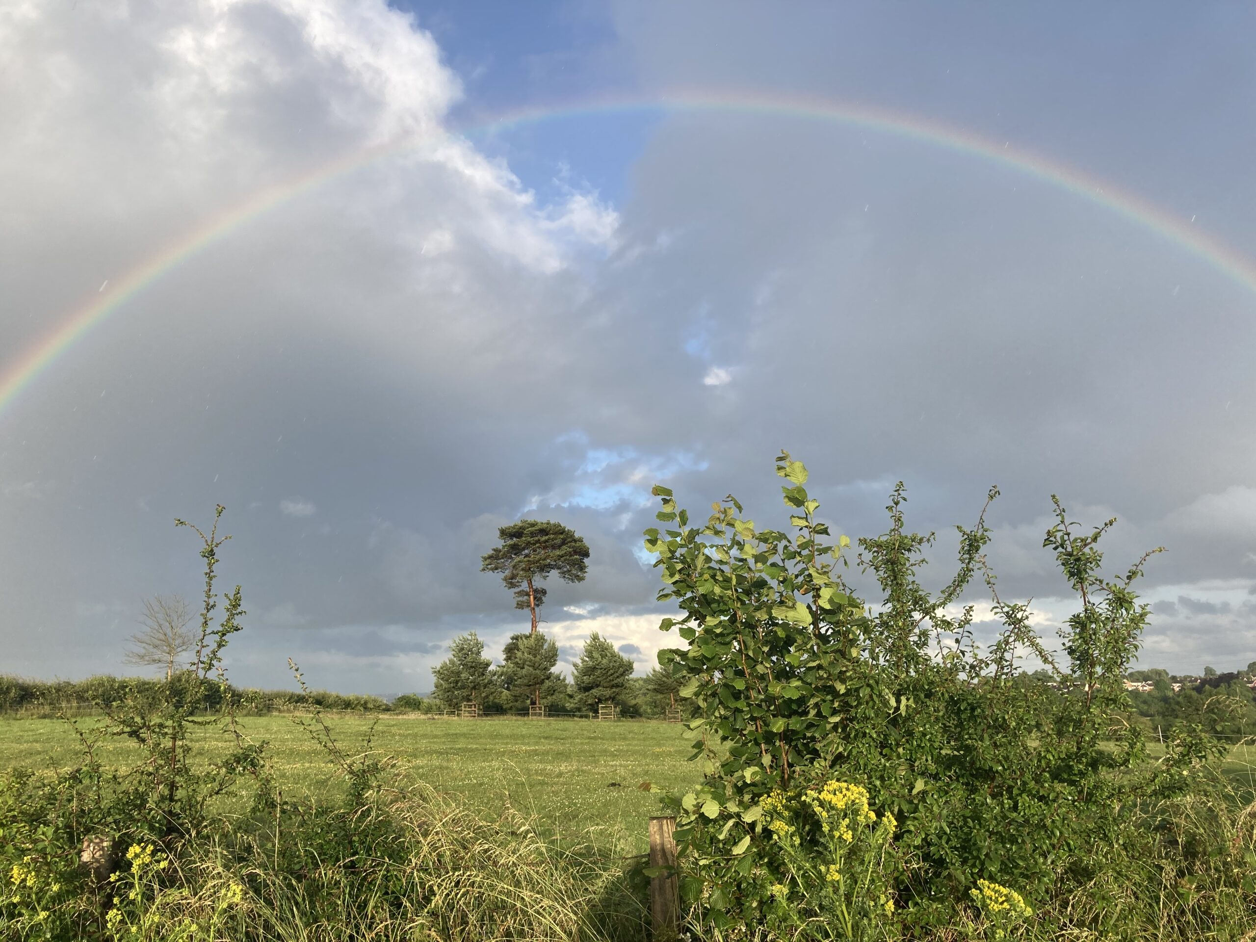 Rainbow over the Haycop as seen from Dark Lane -July