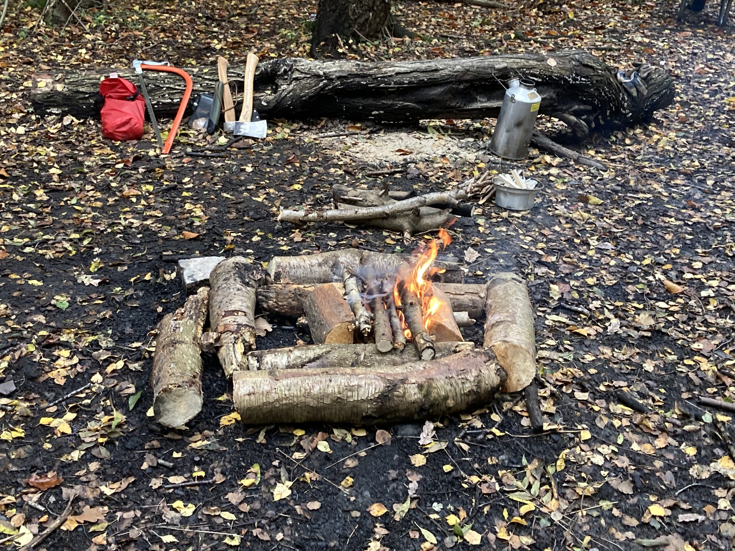 A campfire awaiting the arrival of the reception class from Broseley CE School