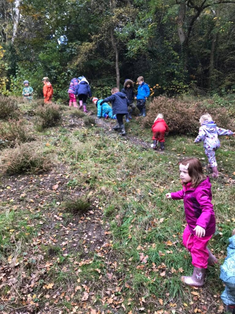The children explore the heather patch