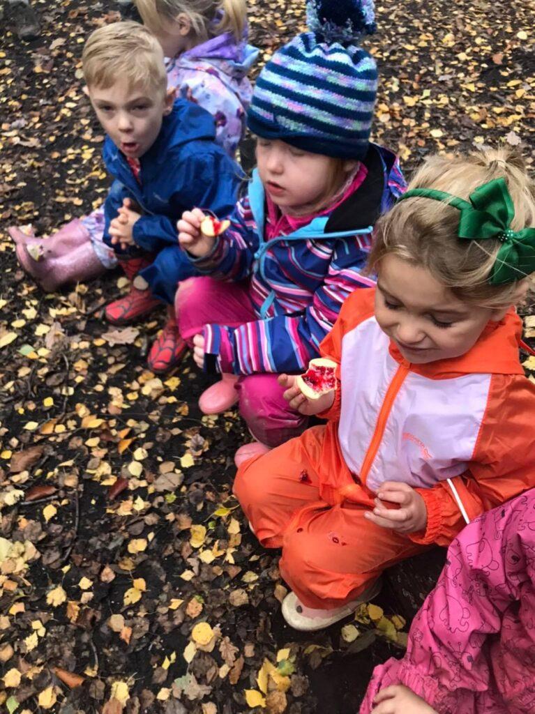 The children trying Haycop jam