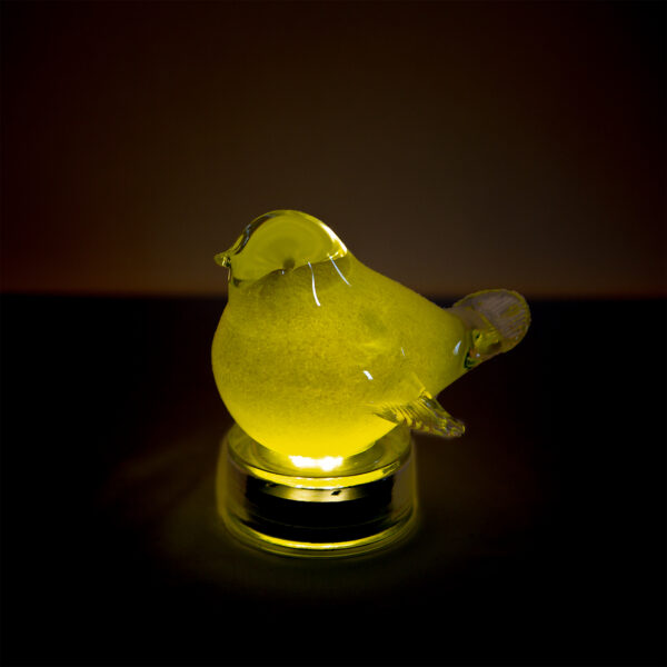 Ultimate Innovations Light Up Glass Bird Yellow in the Dark