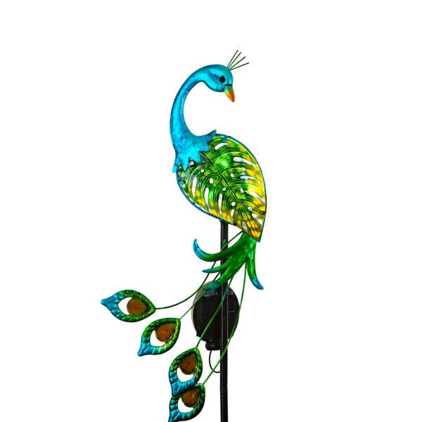 Elegant Solar Bird Garden Stake Green Peacock