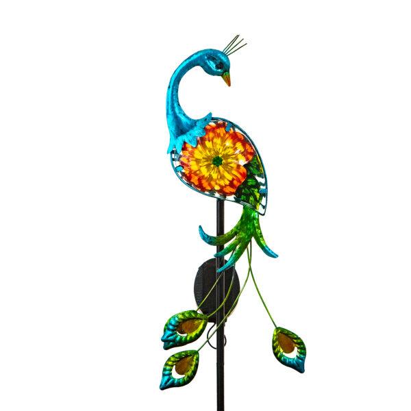 Elegant Solar Bird Garden Stake Coral Peacock
