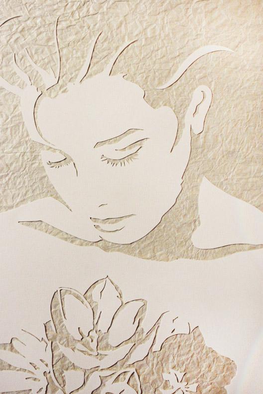 "Original Art , Female Figure in Mixed Media (handmade paper on paper) ""THROUGH THE TULIPS"" by Marcy Ann Villafaña"
