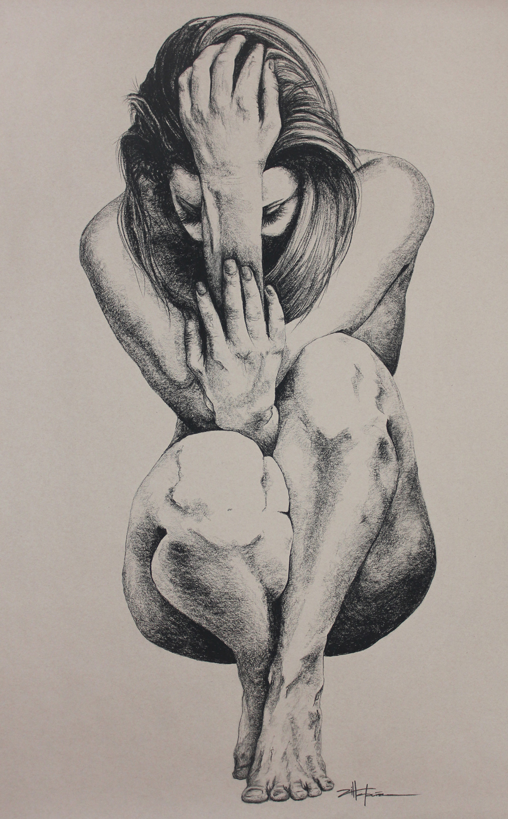 "Original Art, Nude Art Female - Charcoal - Graphite drawing ""CROUCHING WOMAN"" by Marcy Ann Villafaña"