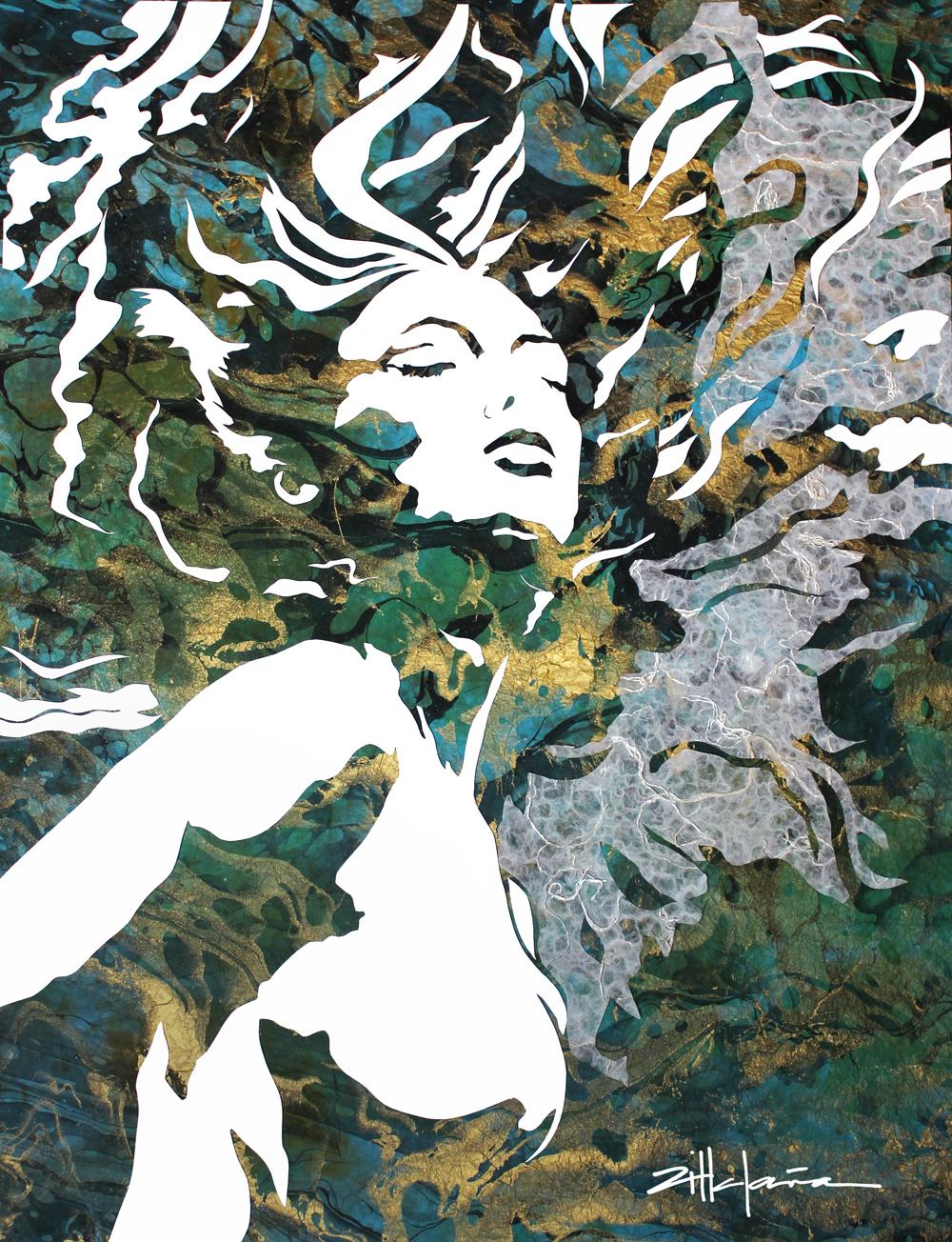 "Original Art , Female Figure in Mixed Media (handmade paper on paper) & metallic paint ""Arising"" by Marcy Ann Villafaña"