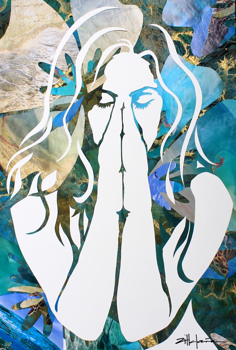"Original Art , Female Figure - Collage Paper ""Island Dream"" by Marcy Ann Villafaña"