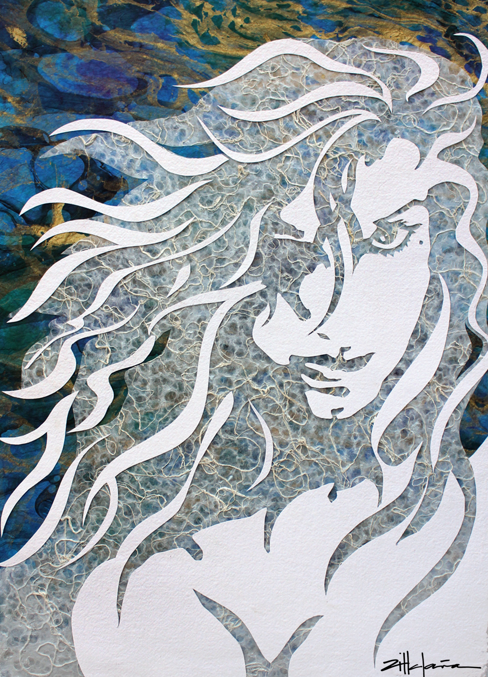 "Original Art , Female Figure in Mixed Media (handmade paper on paper) & metallic paint ""Torrent"" by Marcy Ann Villafaña"