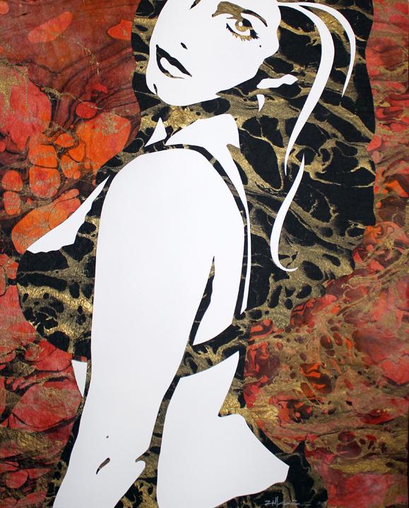 "Original Art , Female Figure in Mixed Media (handmade paper on paper) & Metallic Paint ""Cold Fire"" by Marcy Ann Villafaña"