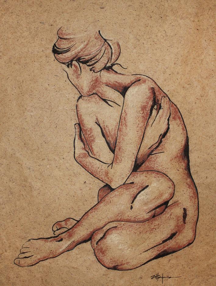 "Original Art , Nude Female - Organic Bark Paper - India Ink & Pastels ""SHY"" by Marcy Ann Villafaña"