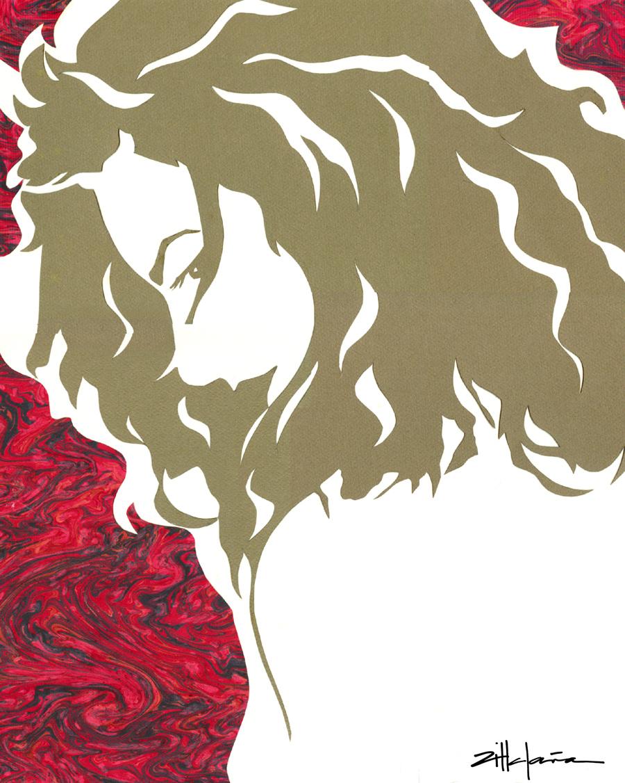 "Original Art , Female Figure in Mixed Media (handmade paper on paper) ""Self"" by Marcy Ann Villafaña"
