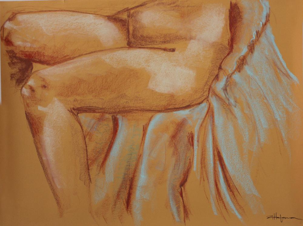 "Original Art , Bone study - Pastel ""BLEU CHAIR"" by Marcy Ann Villafaña ""JUST the LEGS"" 25"" x 19"" Pastels 2013"
