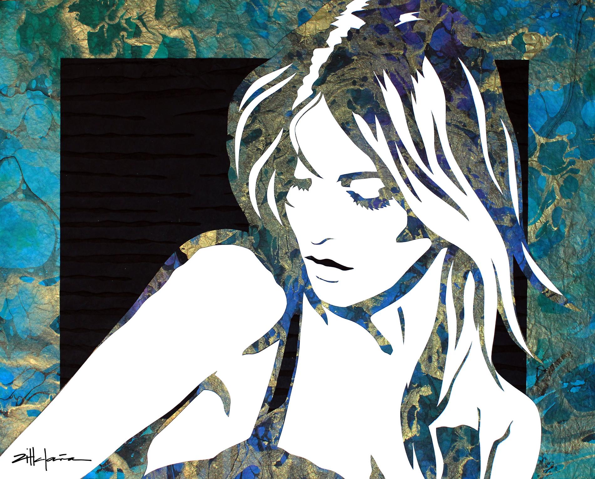 "Original Art, female figurative, mixed media (paper, ink, paint) - ""TIMID"" by Marcy Ann Villafana"