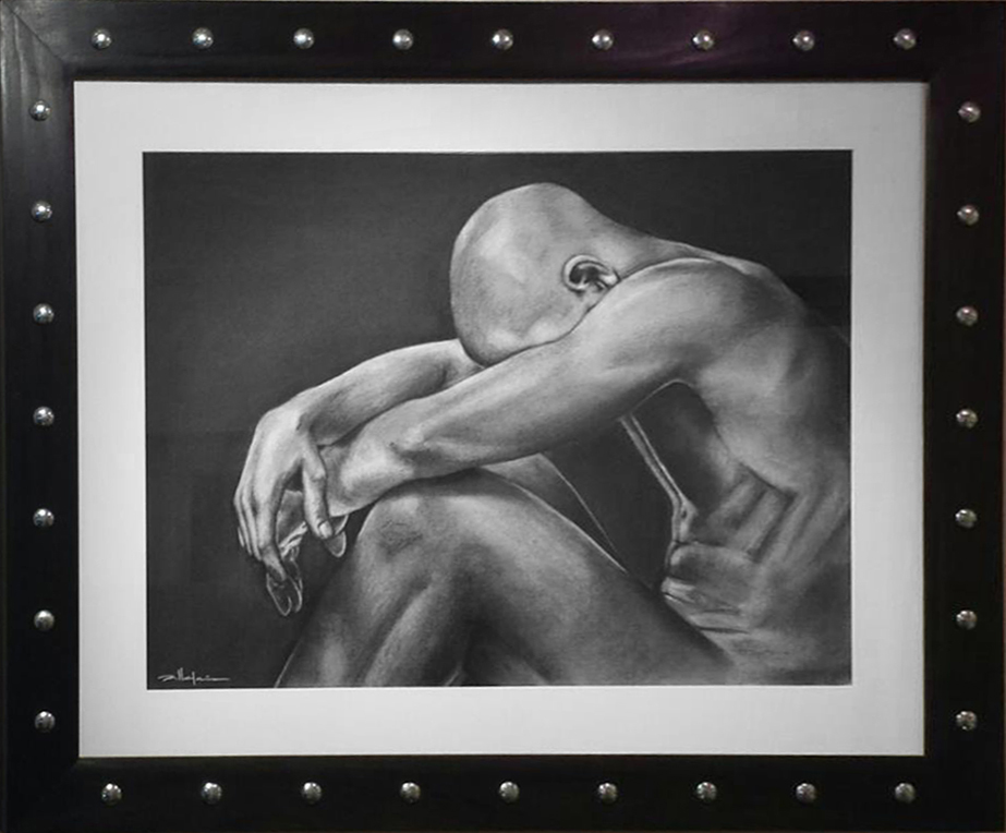 """Original Art, Nude Male Figure Art - drawing / illustration Charcoal and Graphite """"INTHE DARK"""" by Marcy Ann Villafaña"""