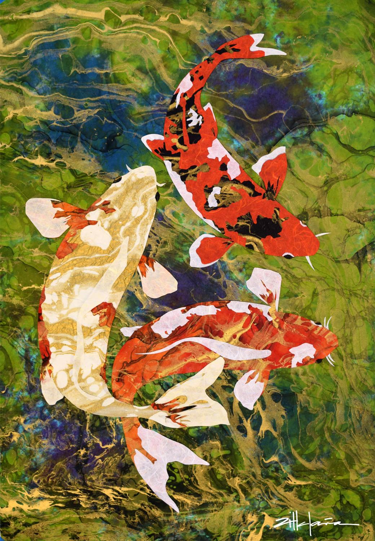 """""""BEING KOI"""" Water art by Fine Artist Marcy Ann Villafana"""