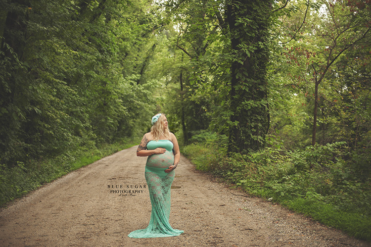 Teal Maternity Photo SessionDress