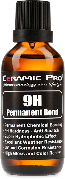 Bottle of Ceramic Pro 9H paint coating.