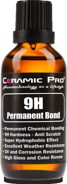 Bottle of Ceramic Pro 9H paint coating.