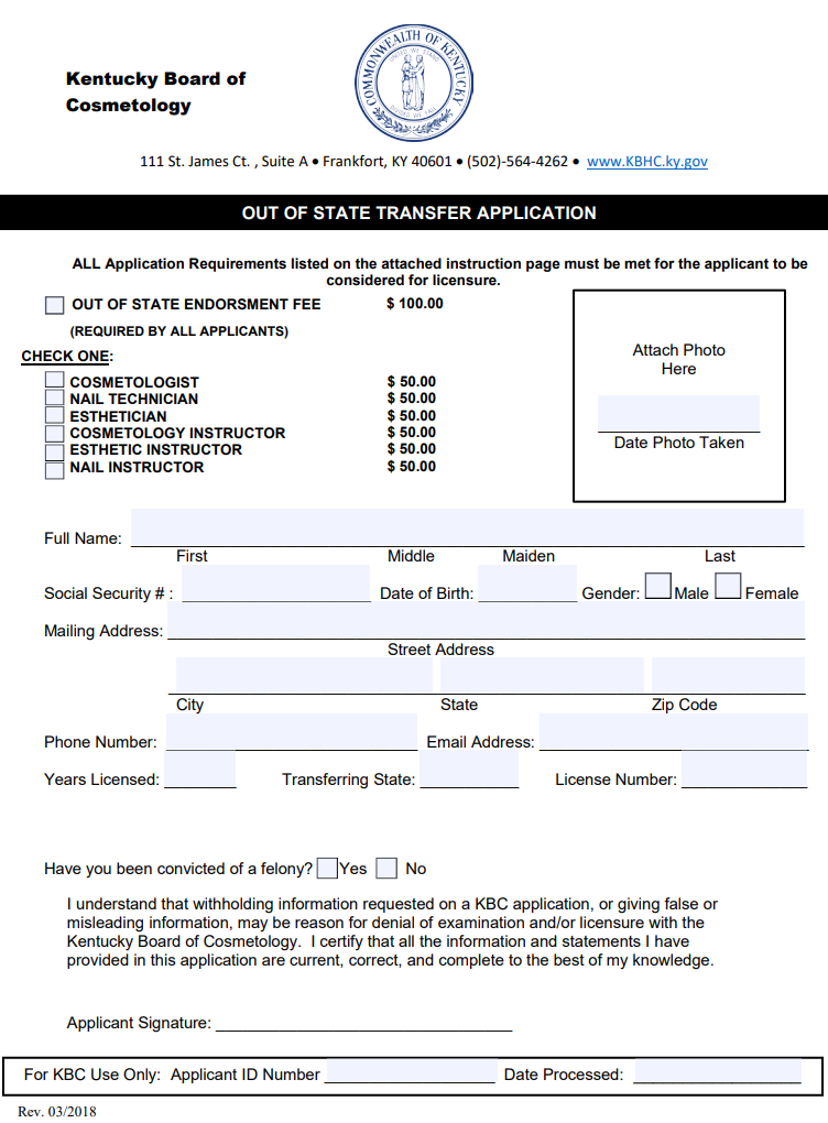 Louisville Beauty Academy - Kentucky State Board of Cosmetology and Hairdresser - Out of State Transfer Application Form