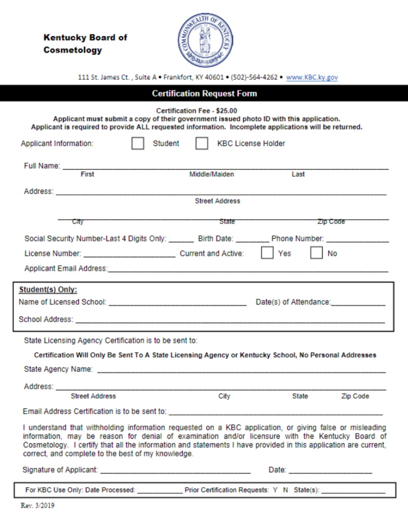 KY-StateBoardOfCosmetology-CertificationRequestForm