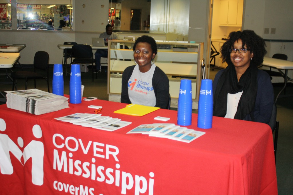 Staff from Cover Mississippi at the Metrocenter Mall ready to assist visitors.