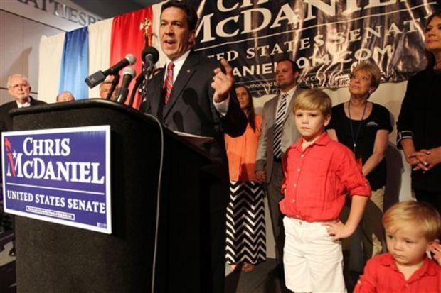 Chris McDaniel addresses his supporters after falling behind in a heated GOP primary runoff election against incumbent U.S. Senator Thad Cochran on Tuesday June 24, 2014 at the Lake Terrace Convention Center in Hattiesburg, Miss. (AP Photo/George Clark)