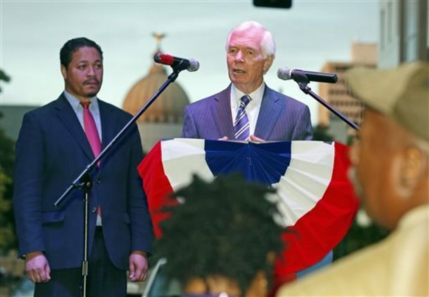 """Republican Sen. Thad Cochran tells black Mississippi voters that he remembers when they were denied the right to vote, and """"that was wrong"""" during a small block party and support rally for the senior Mississippi U.S. senator, Thursday evening, Oct. 23, 2014 in downtown Jackson, Miss. The event was sponsored by All Citizens of Mississippi, a political action committee that has bought ads promoting Cochran to black voters. (AP Photo/Rogelio V. Solis)"""