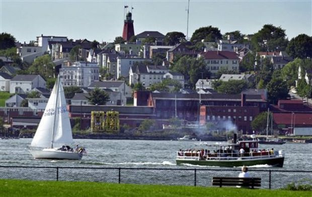 This Aug. 18, 2003, file photo shows homes on Munjoy Hill in Portland, Maine, overlook Portland Harbor. Home rental prices are climbing across much of the United States -- with the biggest gains coming from not from New York or San Francisco but Jackson, Mississippi, and Portland, Maine. Rental prices in Portland, Maine have shot up 17.4 percent. (AP Photo/Robert F. Bukaty, File)