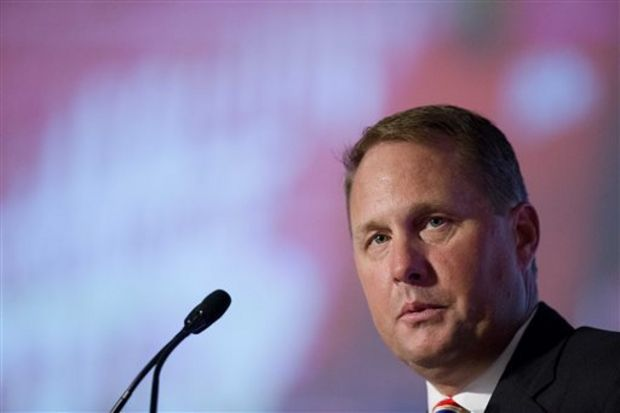 Ole Miss coach Hugh Freeze speaks to the media at the Southeastern Conference NCAA college football media days, Thursday, July 16, 2015, in Hoover, Ala. (AP Photo/Brynn Anderson)