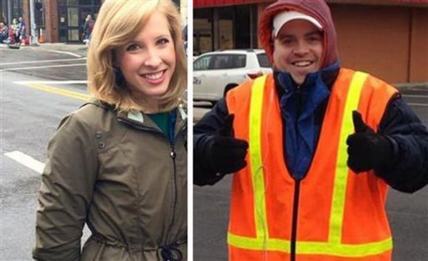 This undated composite photograph made available by WDBJ-TV shows reporter Alison Parker, left, and cameraman Adam Ward. Parker and Ward were fatally shot during an on-air interview, Wednesday, Aug. 26, 2015, in Moneta, Va. Authorities identified the suspect as fellow journalist Vester Lee Flanagan II, who appeared on WDBJ-TV as Bryce Williams. Flanagan was fired from the station in 2013. (Courtesy of WDBJ-TV via AP)