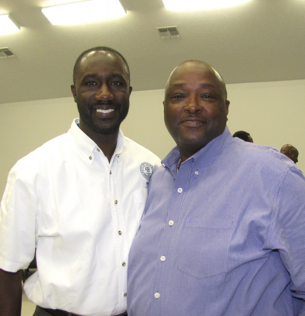 The mayor with Pastor Arthur Sutton of Progressive Missionary Baptist Church