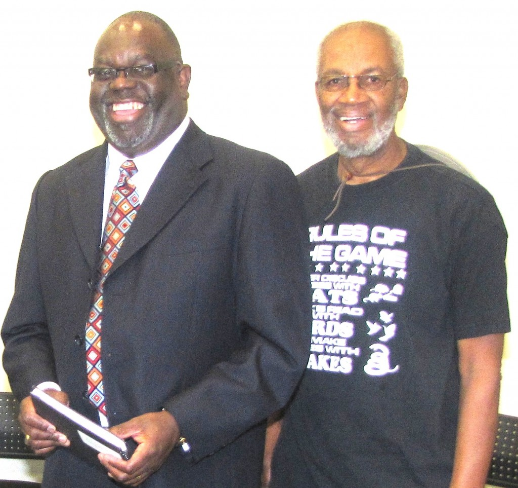 Judge Carlton Reeves and retired Jackson State law professor Charles Holmes at MDAH book presentation by retired Judge Martin
