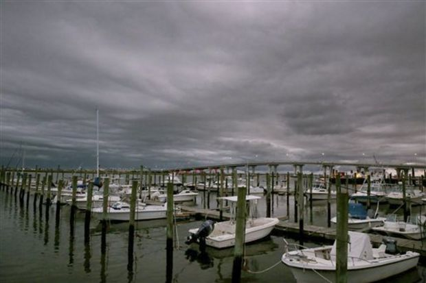 Clouds mark a low-pressure system moving into Somers Point, N.J., Wednesday, Sept. 30, 2015. A strengthening Hurricane Joaquin is projected to hit the U.S. East Coast by the weekend. (Vernon Ogrodnek/The Press of Atlantic City via AP)