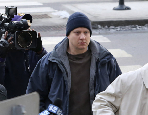 Chicago police officer Jason Van Dyke, accused of fatally shooting a black teenager, arrives at the Leighton Criminal Courthouse in Chicago on Tuesday, Nov. 24, 2015. Van Dyke was charged with first degree murder in the killing of 17-year-old Laquan McDonald. (Antonio Perez/Chicago Tribune via AP)
