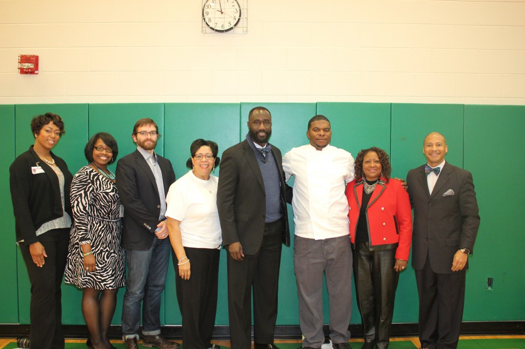 Attending the launch of Creativity Kitchen were Chinelo Evans, (from left) chief academic officer for middle schools; April Catchings with the Office of Child Nutrition within the Mississippi Department of Education; Julian Rankin, Mississippi Museum of Art marketing director; Mary Hill, executive director of Food Services at JPS; Jackson Mayor Tony Yarber, Chef Nick Wallace, Beneta Burt, school board president; and JPS Superintendent Dr. Cedrick Gray.