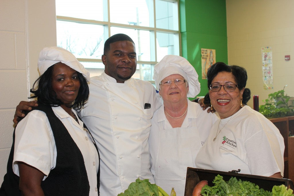 On hand for the launching of Creativity Kitchen were Patricia Willis,  Blackburn Middle School food service manager (from left); Chef Nick Wallace, JoAnn Quillen, retired food manager; and Mary A. Hill, executive director of Food Service at Jackson Public Schools.