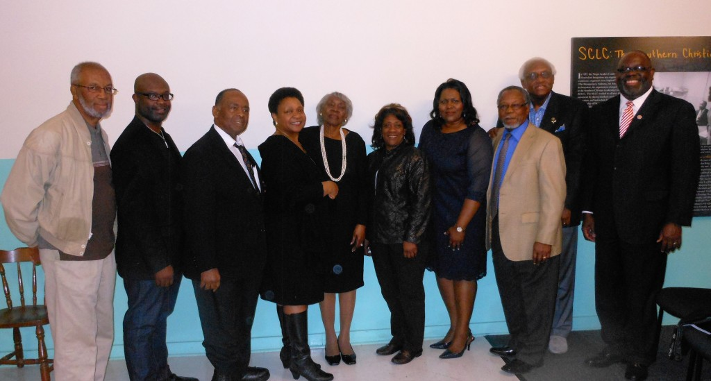"""Attendees at """"The 24-year-old Odyssey of Ayers Litigation: In Remembrance of Attorney Isaiah Madison"""" Tuesday at COFO included (from left) Dr. Charles Holmes, Byron D'Andre Orey, Dr. Robert Smith, Dr. Mary D. Coleman, Helen Miller, Pastor Rose Jenkins, Carol Ann Madison, Johnny Anthony, Dr. Leslie McLemore and U.S. District Court Judge Carlton Reeves."""