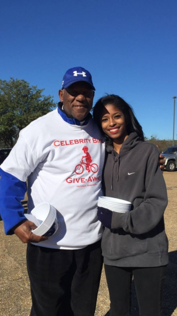 Willie Richardson with Kelli May at Celebrity Bike Give Away in Dec. PHOTOS BY STEPHANIE JONES