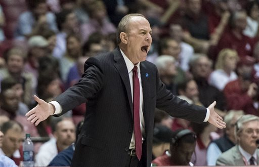 Mississippi State head coach Ben Howland yells at the refs during the Bulldogs win against Alabama Saturday, Feb. 20, 2016, at Coleman Coliseum in Tuscaloosa, Ala. (Vasha Hunt/Al.com)