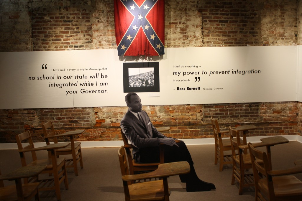 An exhibit at the Smith Robertson Museum and Cultural Center depicts James Meredith as a student at Ole Miss in 1962. PHOTO BY Shanderia K. Posey