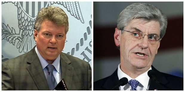 """Mississippi Attorney General Jim Hood (left) will not appeal a federal court injunction blocking HB 1523 -- the state's """"religious accommodations"""" bill, but Gov. Phil Bryant intends to go forward with his appeal. (AP file photos)"""